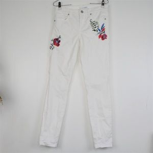 LOFT Jeans White Floral Embroidered Bottoms Sz 0